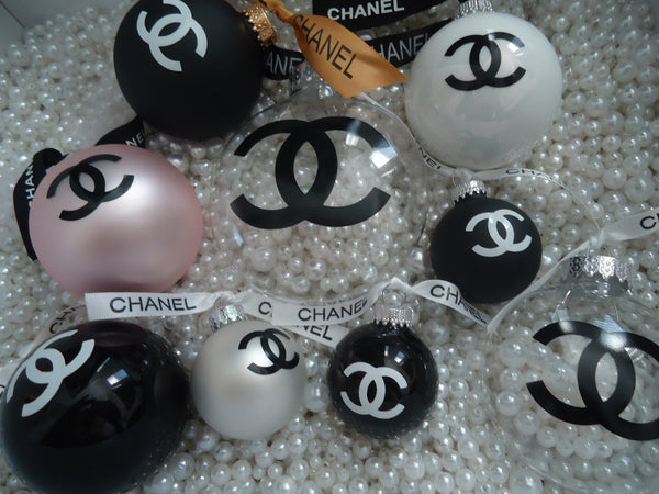 Chanel Christmas Ornaments.Chanel Inspired Clear Christmas Tree Ornament With Pearls And Chanel Ribbon Cc Small