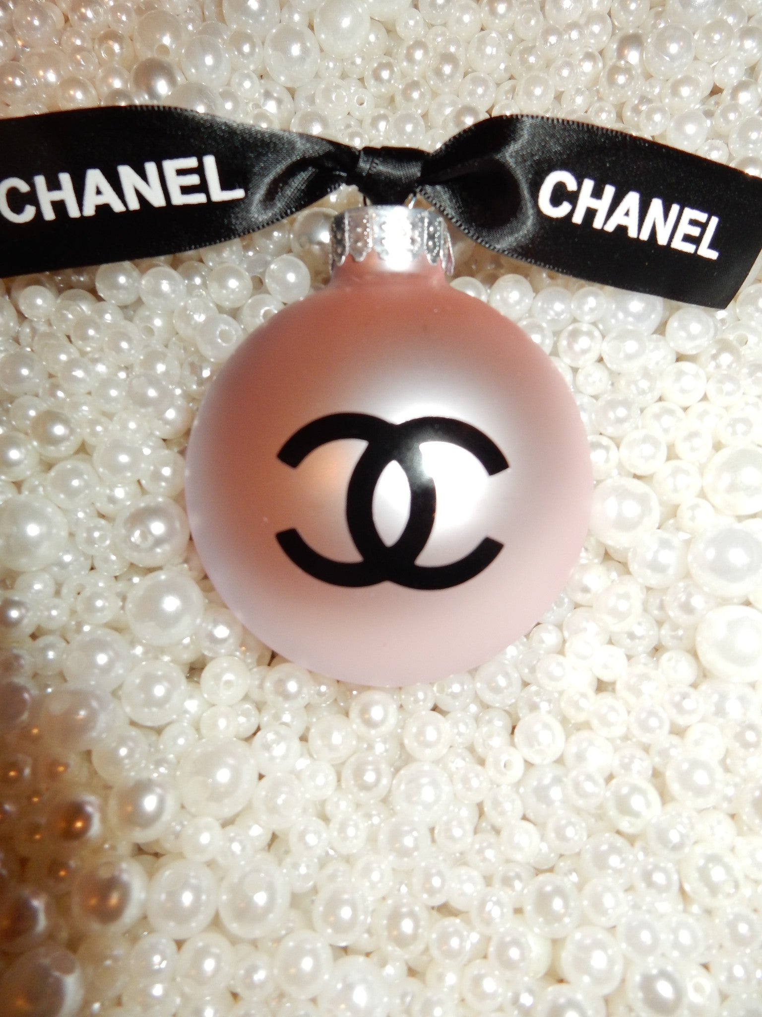 Chanel Inspired Pink Round Glass Christmas Tree Ornament