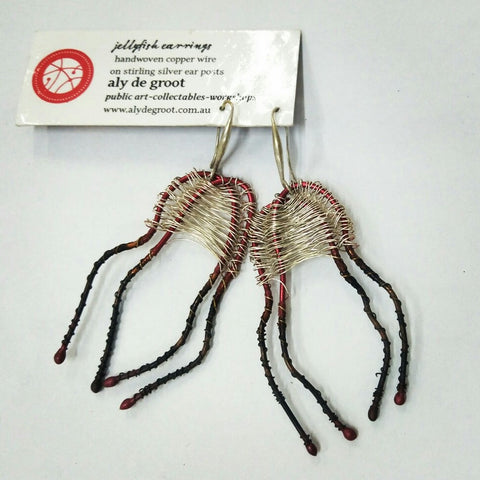Aly de Groot Jellyfish Earrings - Silver / Red