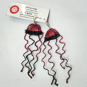 Aly de Groot Jellyfish Earrings - Black / Red