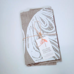 Delvene Cockatoo-Collins Tea Towel: Oyster