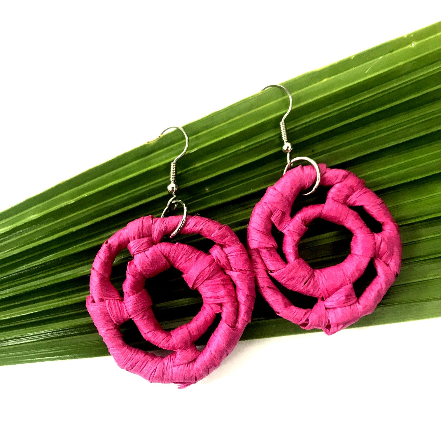Woven Earrings by Plant Based Native - Pink