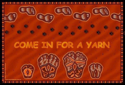 Starwin Social Enterprise, Aboriginal Mats - Come in for a Yarn Door Mat