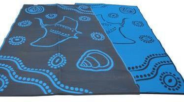 Starwin Social Enterprise, Aboriginal Mats - Manta Ray Blue 2.7 x 1.8m