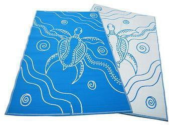 Starwin Social Enterprise, Aboriginal Mats - Turtle Journey Blue 2.7 x 1.8m
