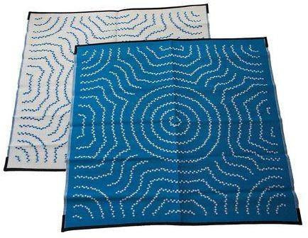 Starwin Social Enterprise, Aboriginal Mats - Water Dreaming Blue 1.8 x 1.8m