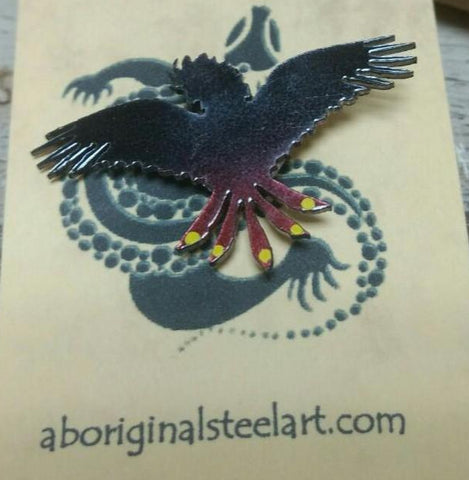 Aboriginal Steel Art Brooch - Cockatoo-Aboriginal Steel Art-Starwin Social Enterprise