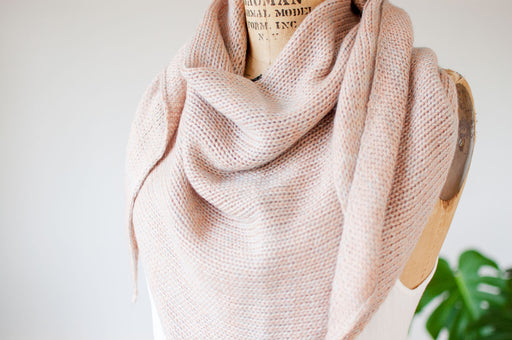 Cashmere, Silk & Mohair Triangle Scarf in Peach Sand and Pale Aqua Indigo