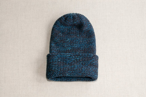 Cashmere & Merino Heavyweight Hat in Klein Blue and Coal