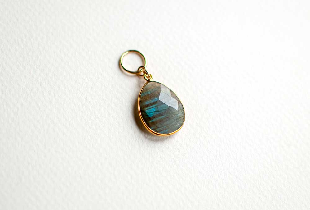 Gemstone Stitch Marker in Labradorite Tear Drop