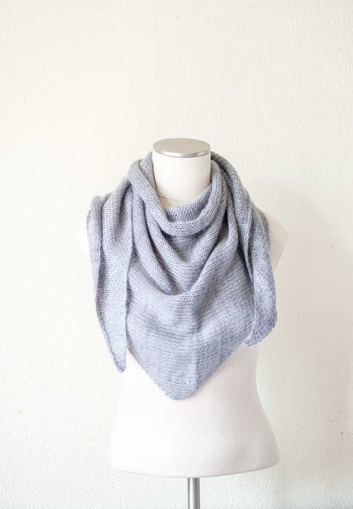 Mohair and Cashmere Triangle Scarf in Mid Grey