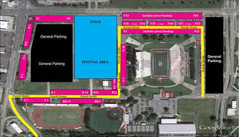 "Parking area ""BB"" (Baseball) - ON PARADE ROUTE CLOSE TO WHERE PARADE ENTERS GROUNDS - ON ASPHALT"