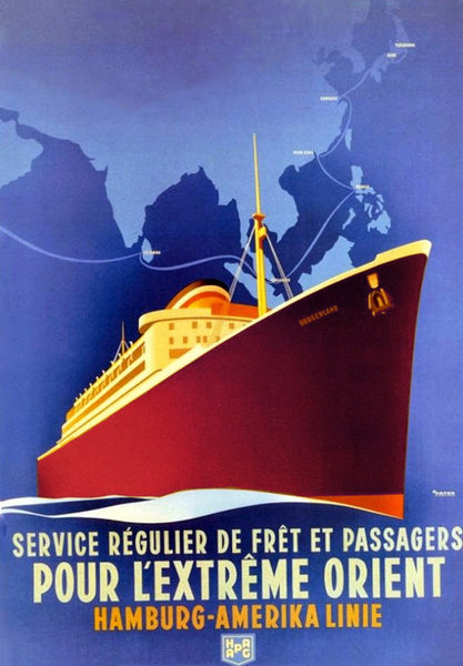HAPAG 'Regular freight and passenger services for the Far East' in 1935 Art Deco travel poster
