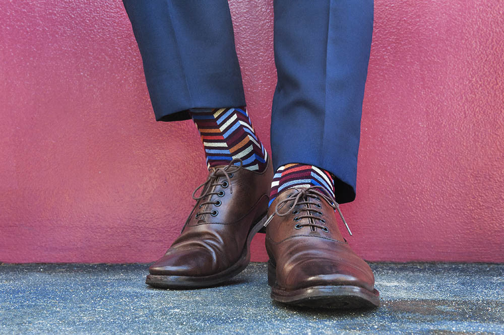 Fortis Green Zig Zag pattern sock