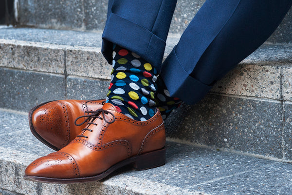 Fortis Green Navy dot dress sock