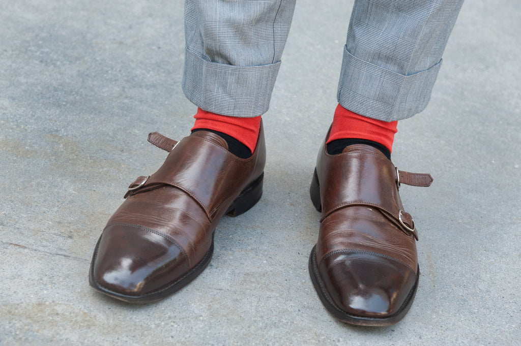 menswear blogger Jared Acquaro from A Poor Man's Millions wears Fortis Green dress socks