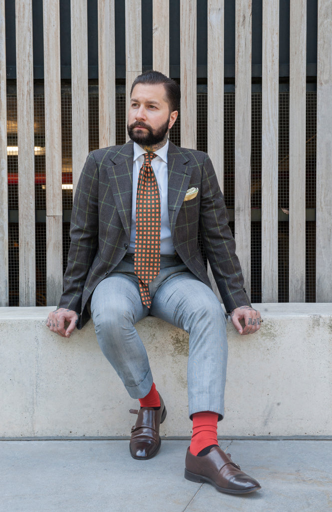 Jared Acquaro from menswear blog A Poor Man's Millions wears Fortis Green dress socks