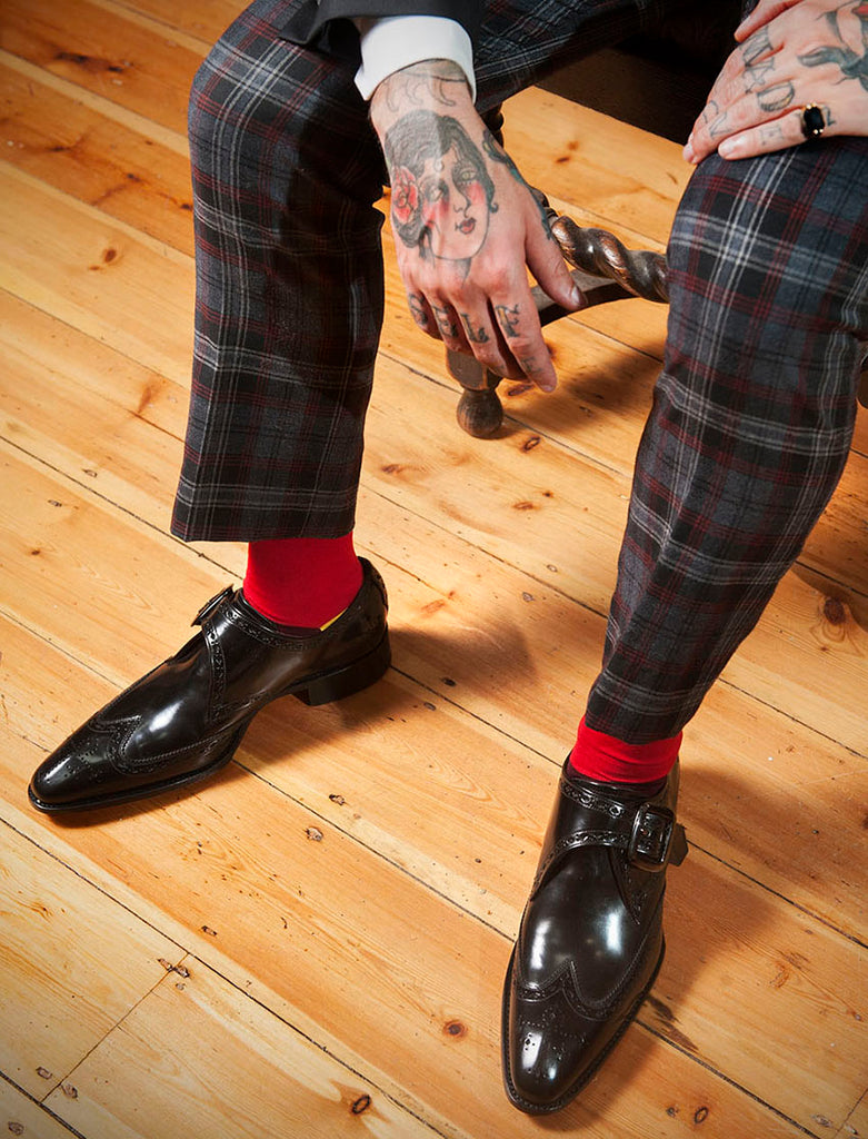 Jared from A Poor Man's Millions in Fortis Green red block colour sock