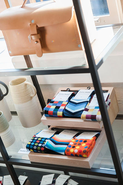 Fortis Green socks at Menske Winter 2015 men's project at Melbourne's Allpress Studio.