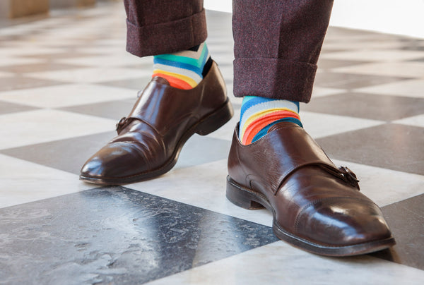 Fortis Green Multicolour chevron stripe sock