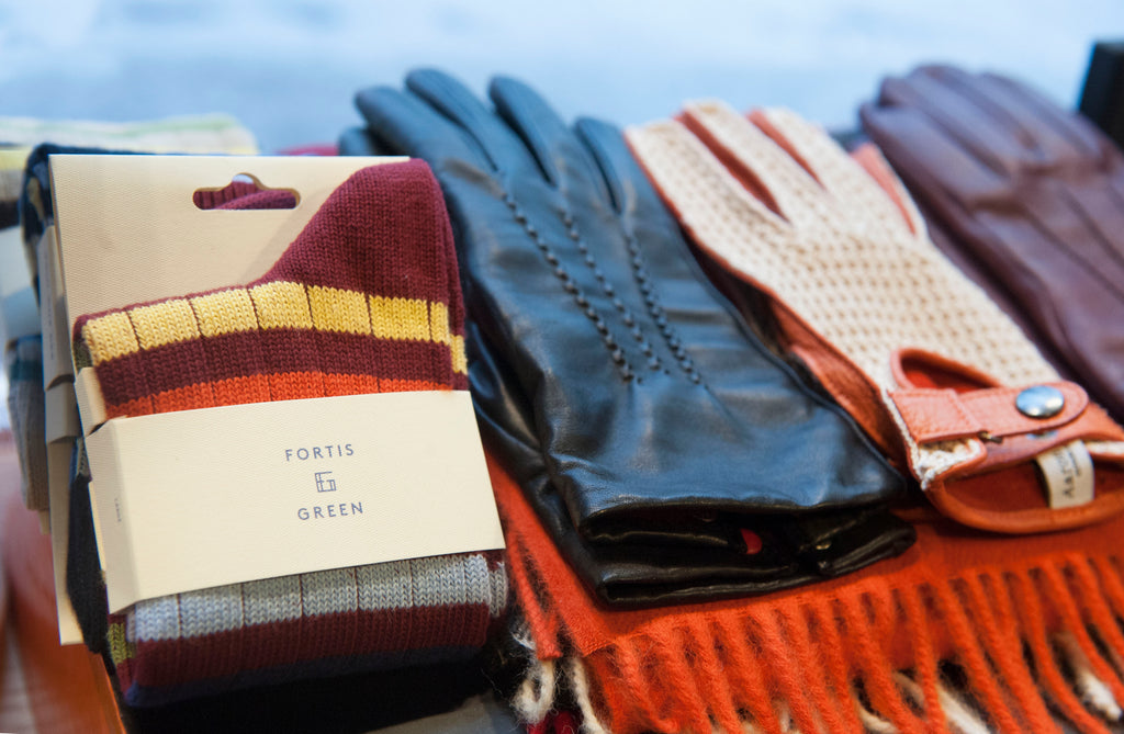 Fortis Green socks alongside Aaron Cheung Gloves at Grand Hatters store