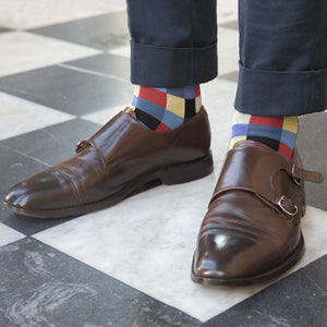Check Pattern Sock in Black - Fortis Green