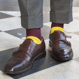 Fortis Green luxury knit men's dress socks in burgundy. Block colour socks made in Portugal with hand linked toes