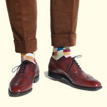 Load image into Gallery viewer, Check Pattern Sock in Burgundy by Fortis Green