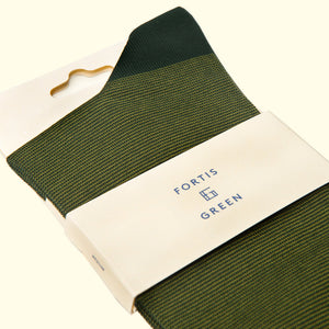 Fine Stripe Pattern Sock in Green by Fortis Green