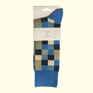Check Pattern Sock in Royal Blue by Fortis Green