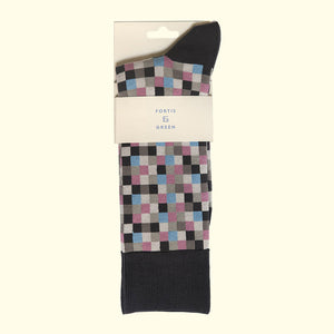 Microcheck Pattern Sock in Grey by Fortis Green