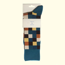 Check Pattern Sock in Teal Blue by Fortis Green