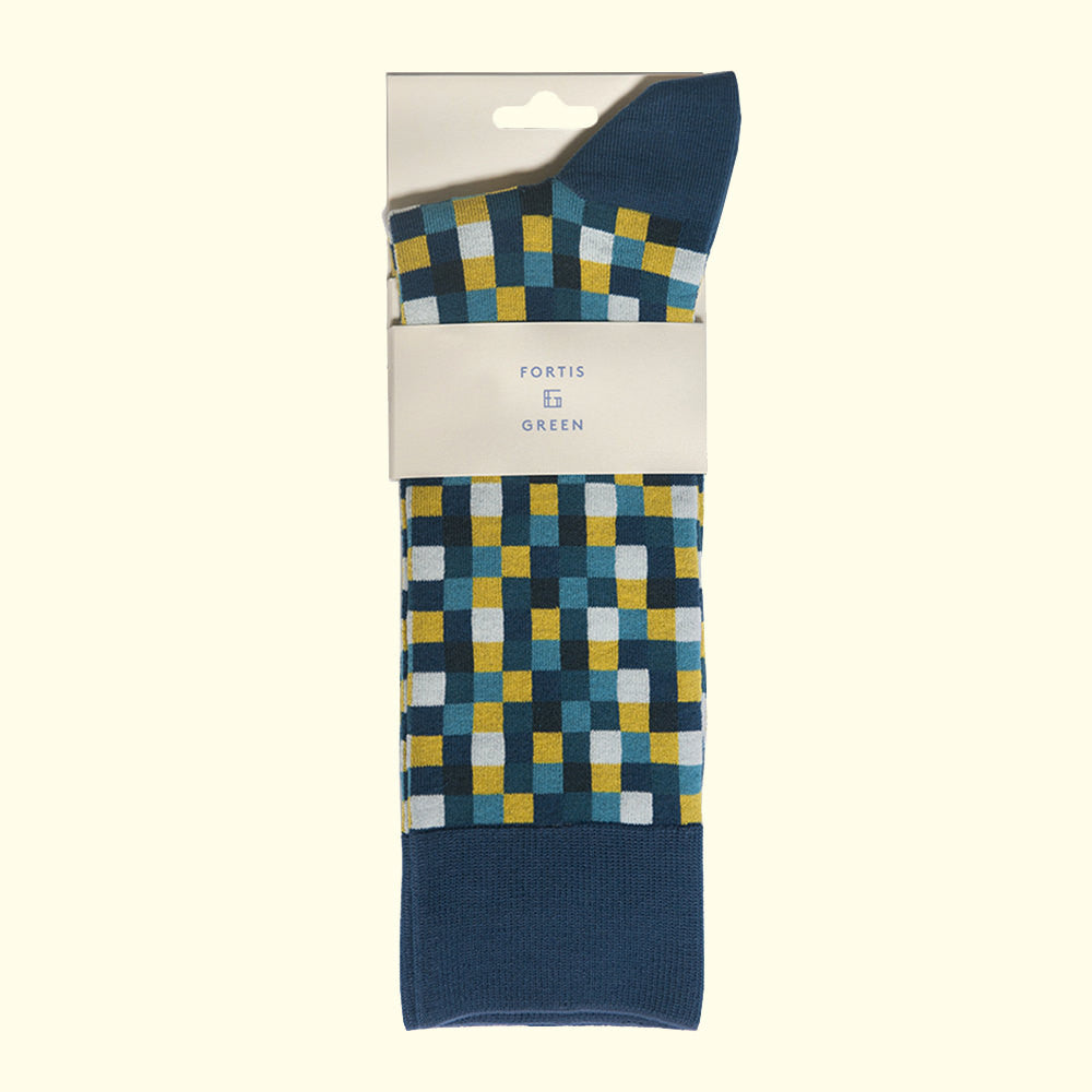 Microcheck Pattern Sock in Teal Blue