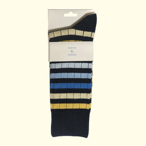 Chunky Knit Stripe Sock in Navy by Fortis Green
