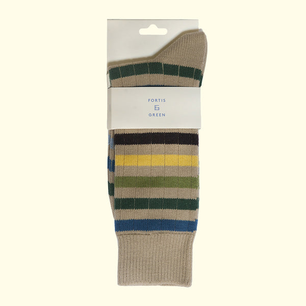 Fortis Green quality men's socks for boots. Oatmeal colored pattern warm sock