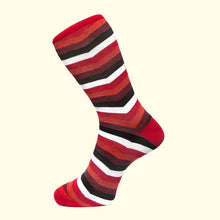 Load image into Gallery viewer, Chevron Stripe Pattern Sock in Red by Fortis Green