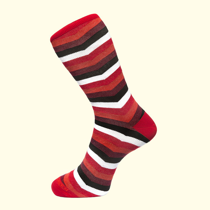 Chevron Stripe Pattern Sock in Red by Fortis Green