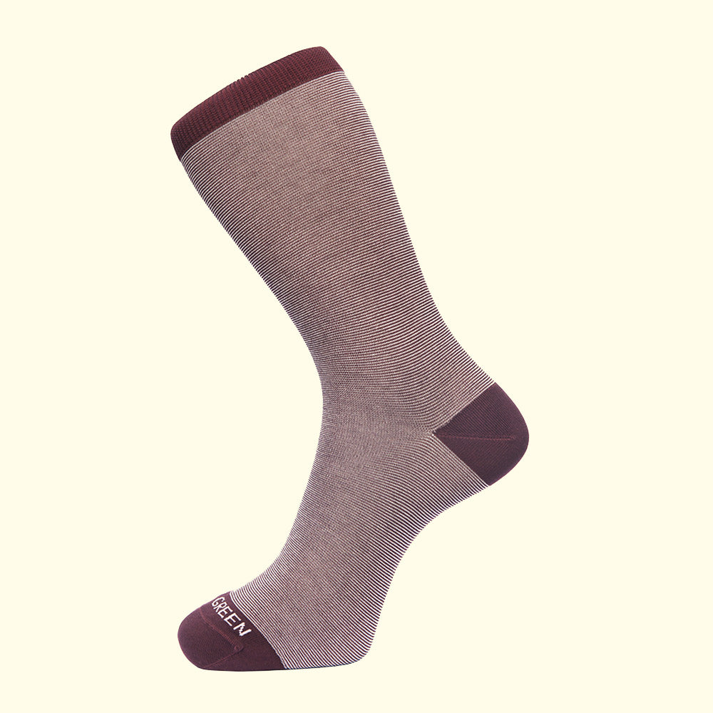 Fortis Green luxury knit mens dress socks in classic pattern burgundy stripes