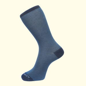 Fortis Green men's luxury socks in navy blue classic pattern fine stripes