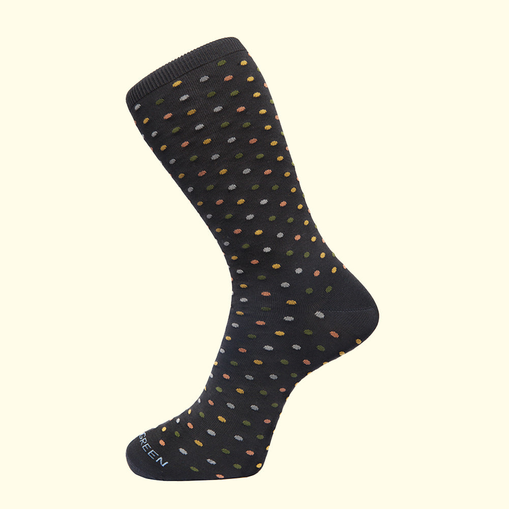 Microdot Pattern Sock in Charcoal Grey by Fortis Green