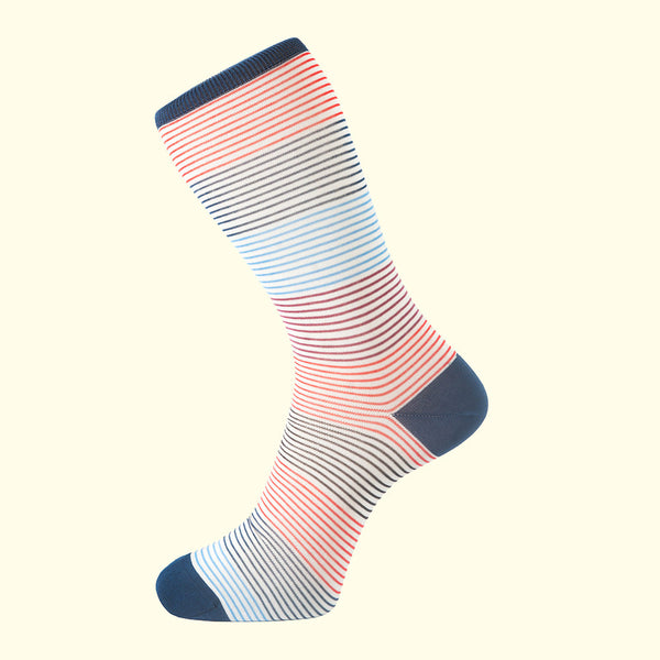 luxury men's colorful socks. Fortis Green white stripes pattern sock