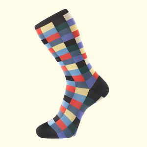 luxury men's colorful socks. Black check pattern sock