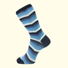 Load image into Gallery viewer, Chevron Stripe Pattern Sock in Blue by Fortis Green