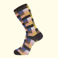 Load image into Gallery viewer, Check Pattern Sock in Brown by Fortis Green