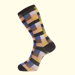 Check Pattern Sock in Brown by Fortis Green