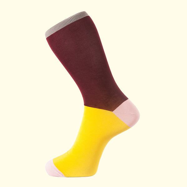 Fortis Green luxury knit men's dress socks in burgundy. Block colour socks made in Portugal.