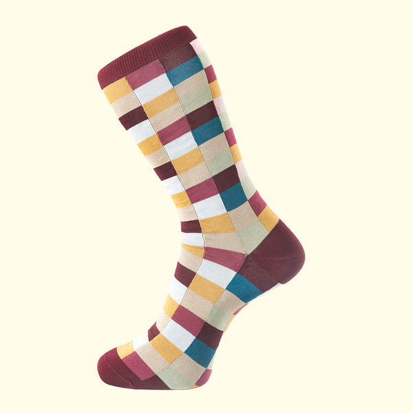 Check Pattern Sock in Burgundy