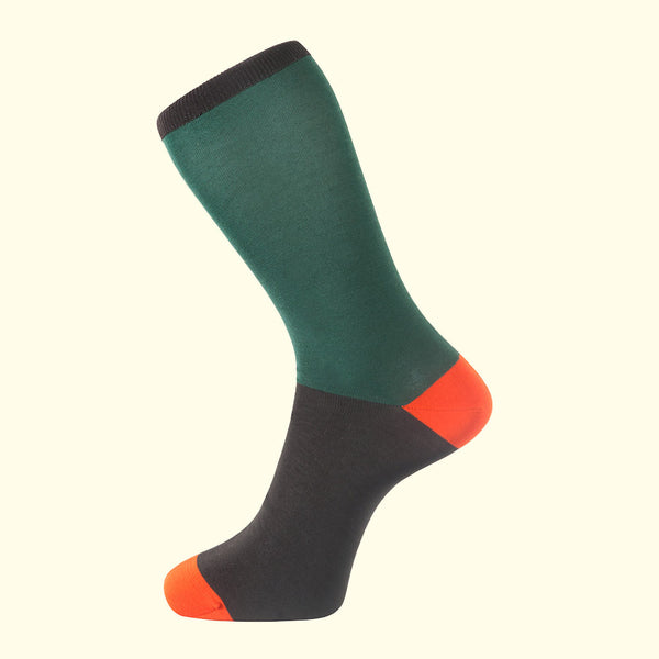Fortis Green luxury knit men's dress socks in green. Block colour socks made in Portugal.