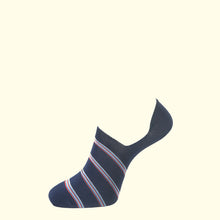 Load image into Gallery viewer, Invisible Sock in Navy Stripe by Fortis Green