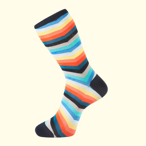 Chevron Stripe Pattern Sock in Multicolour by Fortis Green